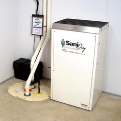 An ENERGY STAR® Rated basement dehumidifier installed in a home in