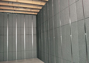 SilverGlo™ insulation and metal studs making up our Basement to Beautiful™ panels.  Installed in Lexington.