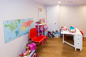 Children's playroom installed in a  basement