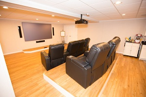 A basement turned into a home theater in Lowell